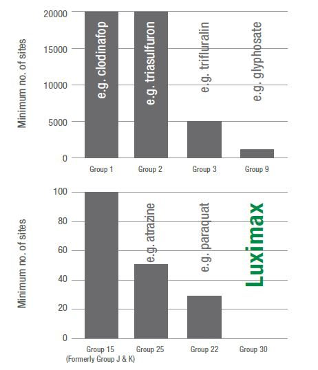 Number of sites containing annual ryegrass with confirmed resistance to each MoA